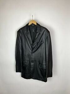Men`s VERSACE VERSUS Vintage Black Leather Blazer Jacket Size 54
