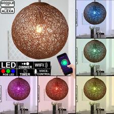 RGB LED Smart Home Rattan Hänge Decken Lampe ALEXA GOOGLE App Leuchte DIMMBAR