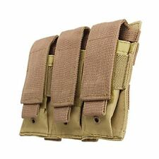 Triple Pistol Mag Pouch Durable Nylon with Hook & Loop Closure - Tan