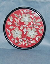 Antique Bead Needlepoint Round Flower Picture Framed