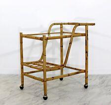 Mid Century Modern Bamboo Glass Rolling Bar Tea Serving Cart Mcguire Era 60s