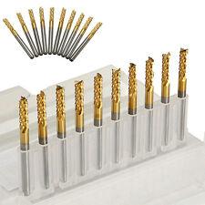 "10PCS 3.175mm 1/8"" Carbide End Mill Shank Titanium Coated CNC PCB Engraving Bit♡"