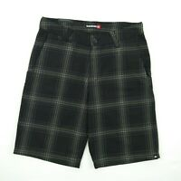 🔥 QUIKSILVER - Black Grey Plaid Chino Shorts Men's Size 30 - Style # 104092