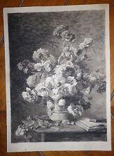 Superbe dessin encre lavis sur papier bouquet de fleurs nature morte au livre