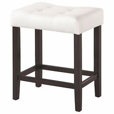 Espresso Backless Counter Stool with White Fabric Seat by Coaster - Set of 2