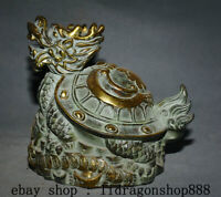 "8.8"" Ancien Bronze Chinois Feng Shui Animal Dragon Tortue Pièces Richesse Statue"