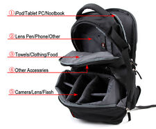 DSLR SLR Camera Bag Camera Backpack Bag Case for Canon Nikon Sony EOS+Rain Cover