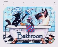 ORIGINAL DESIGN SIAMESE ORIENTAL CAT PAINTING  BATHROOM SIGN BY SUZANNE LE GOOD