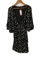 Boohoo ladies plus Floral ruffle wrap skater black dress UK size 22 New with tag