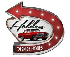124160 HOLDEN SALES & SERVICES MOTORING LIGHT UP TIN SIGN OPEN 24 HOURS GIFT