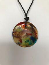 Necklace multicolor glass colorful unique retro chic chunky big pendant cord