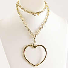 "Sarah Coventry Large Heart Shaped Pendant Goldtone Chain Necklace28""Long Vintage"