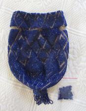 Authentic 20s-30s Flapper Lapis Blue Czech Glass Beaded Art Deco Purse!