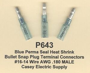20 Blue PERMA SEAL Heat Shrink Bullet Snap Plug #16-14 Wire Gauge AWG .180  Male
