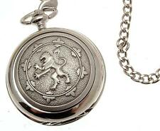 Pewter Fronted Mechanical Skeleton Pocket Watch Rampant Lion Watches For Men
