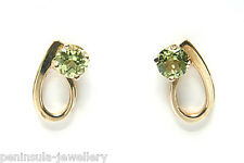 9ct Gold Peridot Stud Earrings Made in UK Gift Boxed