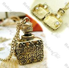ORNATE vintage style PERFUME BOTTLE LOCKET box pendant NECKLACE antique gold pl