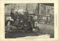 1873 On Board The Dundee Steamer Playing Draughts Sewing Lifeboats
