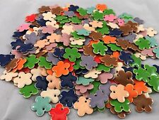 Lot -25 Assorted Colors Flower Drop Charms Enamel Epoxy Silver 10mm Jewelry NEW