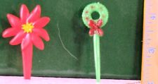 Euc Vintage Wreath & Poinsettia Plastic Cup Cake Decorations Christmas 2.5& 2.75