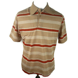 🔴 Vintage Edwards of California Shirt Striped Ribbed Polo Dacron Polyeste XL