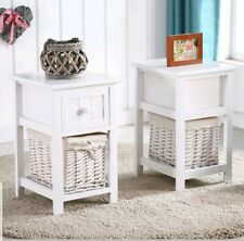 BN 2PCS Wooden Shabby Chic Storage Bedside Table Units W/ Wicker Cabinet New