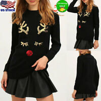 Womens Christmas Sequin Reindeer T Shirt Tops Long Sleeve Xmas Pullover Blouse