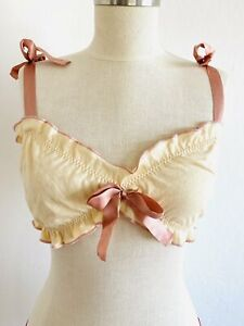 Undrest Lingerie Ivory Tan Pink Silk Ribbon Ties Cotton Bralette Top USA