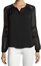 NWT $295 Rebecca Taylor Long Sleeve Silk & Lace 'Sarah' Blouse Top Black Size 6
