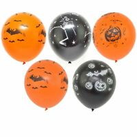 12 HALLOWEEN BALLOONS SPOOKY DECORATION BLACK ORANGE COBWEB PUMPKIN PARTY FUN