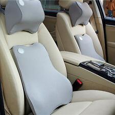 Gray Auto Car Memory Foam Lumbar Cushion + Neck Pillow Premium Seat Cover Set