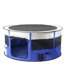 Soft Pet Playpen Portable Dog Cat Puppy Play Round Crate Cage Tent W/ Carry Bag