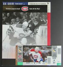 2002 Bell Center NHL Scorecard + Ticket Montreal Canadiens - Pittsburgh Penguins
