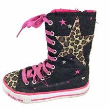 SKECHERS Light Up Girls ZIP Lace Up Black Pink Fabric Boots Size US 12 EU 28.5