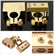 "2in1 Golden Heavy Duty Car SUV ""+"" & ""-"" Battery Terminal Clamps Connectors Kit"