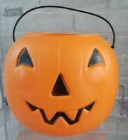 Vintage Halloween General Foam Plastic Pumpkin Jack'O Lantern Candy Bucket