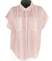NEW Lucky Brand Womens Size Small S Red Stripe Button Up Short Sleeve Shirt NWT