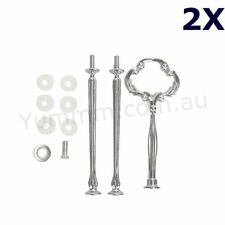 2x 3Tier Cake Stand Fitting HEAVY Silver CLOVER Handle Wedding High Tea Hardware