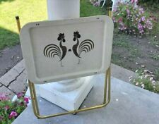 Rooster chicken TV Tray table w/Metal Legs retro mid century gold