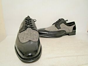 Giovanni Mens 6484 Leather Wingtip Oxford Dress Shoes Black Tweed Sizes 13 14