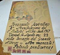 Dibujo Acuarela Quino 25 x 35 Ferragosto Juventino Firmado Eros 1947