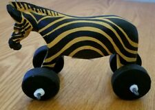 Painted Wooden Zebra with Wheels