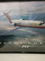 """Vintage TWA  717 Boeing Jet Ad Poster (does not include frame). 36"""" x 24"""""""