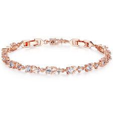 Sparkling CZ 925 Silver Tennis Bracelet Bride's Rose Gold Filled Wedding Bangle