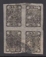 NEPAL 1881 ½a black imperf in 6 blocks - 5591