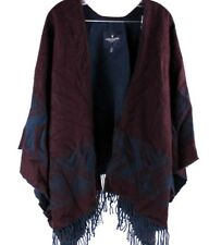 American Eagle Navajo Poncho Sweater Size O/S Cardigan Burgundy And Blue Shaw