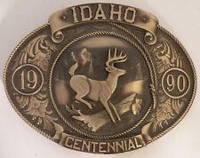 """IDAHO Centennial (1890-1990) BRONZE BELT BUCKLE """"WHITETAIL DEER"""" LE # 250/5000"""