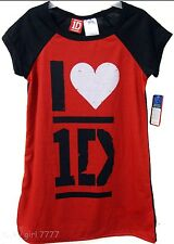 NWT SZ 6 GIRL'S ONE DIRECTION PAJAMA GOWN RED BLACK, NIALL, HARRY LOUIS 1D  NEW