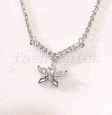 Women Charm Necklace New White Gold Plated 45+5cm Xmas Clear Flower CZ Cubic