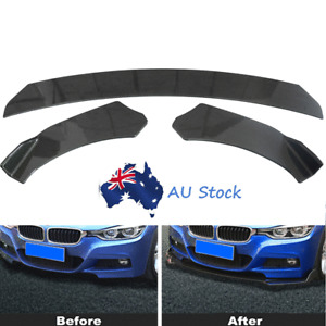 3pcs Carbon Fiber Look Car Front Lower Bumper Lip Spoiler Splitter Wing Body Kit